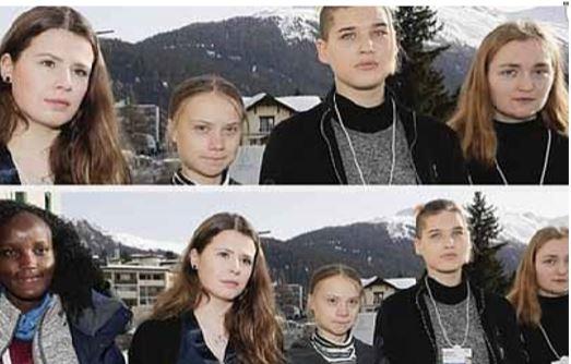 """Jovem negra foi """"apagada"""" numa foto com activistas ao lado  de Greta Thunberg"""