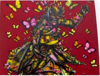 """Artista ZBI pinta """"Nutrição Espiritual"""" na Galeria Tamar Golan"""